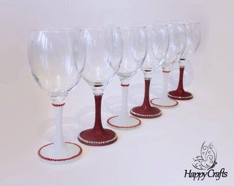 Glitter Sparkle Stem Wine Glasses Set of 6 Red & White
