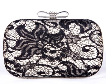 Black wedding clutch, Bridal clutch, Champagne clutch, evening bag, Modern clutch, bridesmaid bag, crystal clutch c15