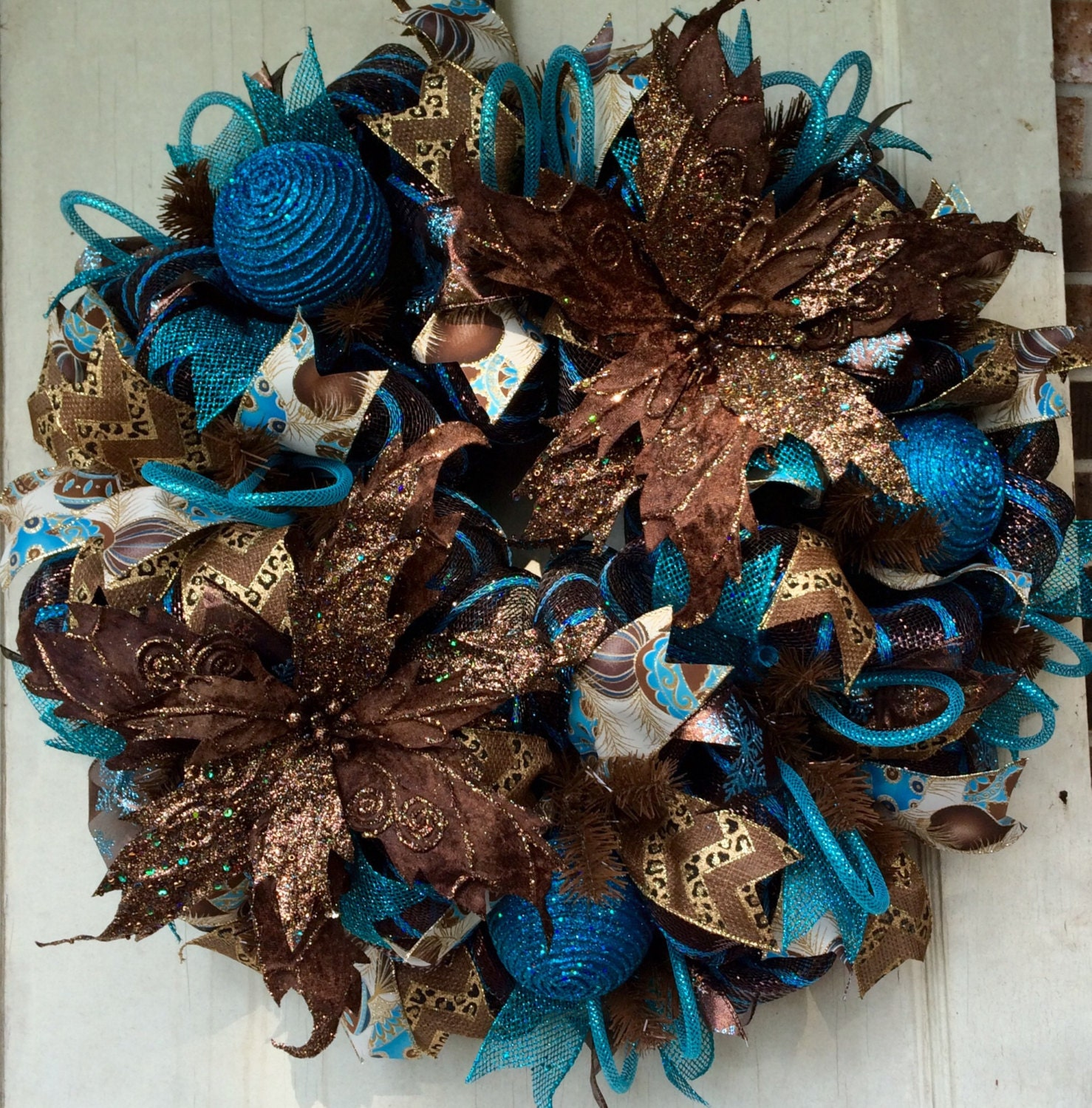 Christmas Wreath Brown And Blue Turquoise Deco Mesh Wreath