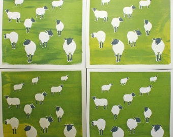 Sheep in a Grassy Field, hand-pulled screen print