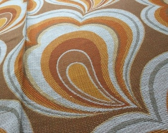 Vintage 70s fabric 50x120cm red flame