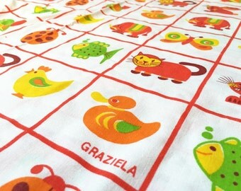 GermanVintage fabrics 70s Graziela fabric 50x90cm: rabbit and duck -.