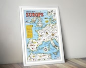 Map of Europe | Illustrated Map of Europe | World War II Memory Map | Vintage Map of Europe | Western Europe Wall Map