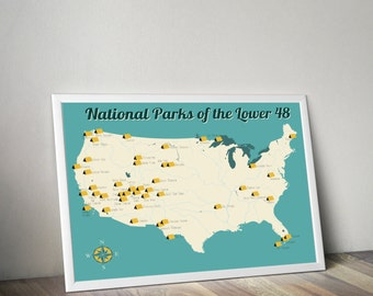 National Park Map | Map of National Parks | U.S. Map | United States Map | Map Art