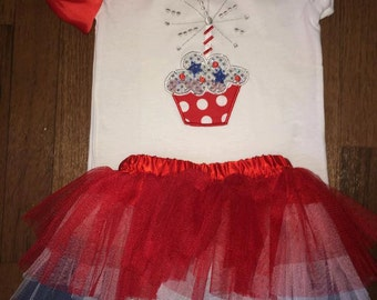 Cupcake 4th of July tutu outfit!