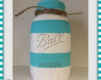 Striped Painted Mason Jar - Quart or Pint - Nautical Decor - Flower Vase - Beach Wedding Centerpiece - Beachy Home Decor - Coastal - Cottage