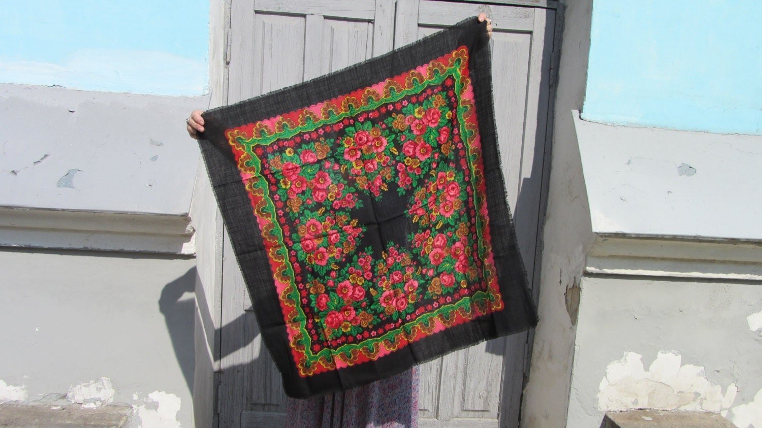 Black Ukrainian Shawl, Vintage Black Wool Floral Lovely Scarf, Russian Floral Sc