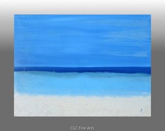 Cuban Blues 2,  Abstract Acrylic Seascape Painting