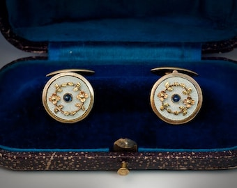 Vintage Guilloche Enamel, Two-Color Gold and Sapphire Cufflinks
