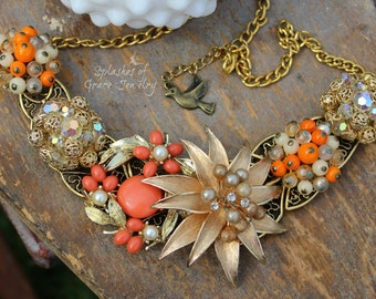 OOAK, Vintage Repurposed, Upcycled, Assemblage Bib Necklace bursting with Orange and Gold