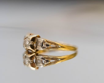 Antique Diamond Engagement Ring and Wedding Band Set in Yellow Gold VEG #92