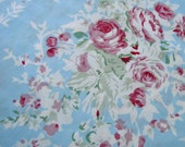 SALE!!! Shabby Chic Vintage Style Fabric Yard, Yardage Victorian Raspberry Rose Bouquets - Powder Blue Vintage Wallpaper Style Floral Cotton