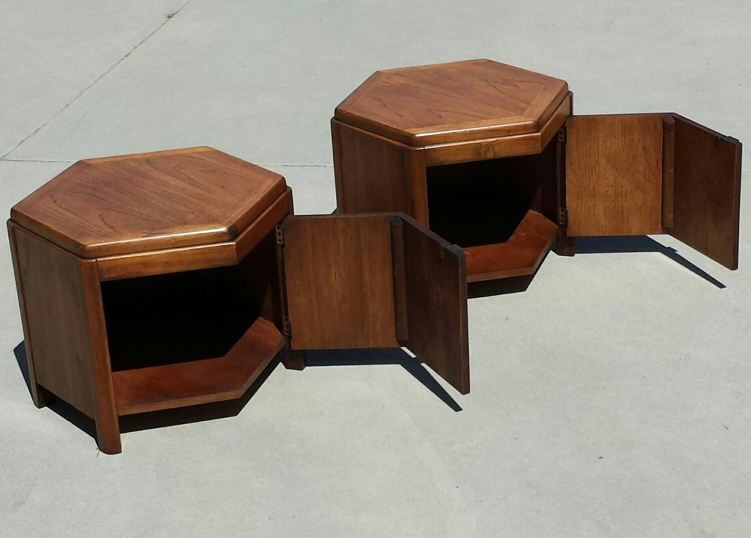 Pair of lane octagon end table cabinets style