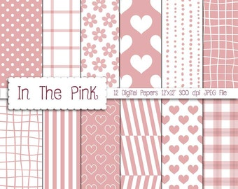 """Pink Digital Paper: Pink & White"""" Digital Paper Pack with dots, hearts, flowers, ginghams."""