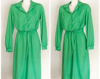 1980s or 70s kelly green long sleeve belted dress from Lady Blair