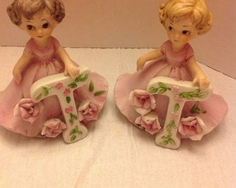 "Vintage made in taiwan ""T"" initial figurine (s) - little girl initial figurines - blond and brunette - birthday gift for little girl"