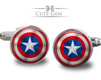 SUPER SALE - Captain America's Shield ( Marvel Super Heroes ) - Silver Glass Cufflinks