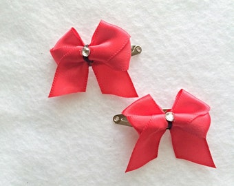 Mini Red Tails Down Hair Bows with Snap Clips, Toddler Baby Hair Clips