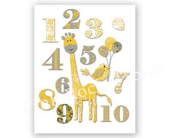 Neutral nursery wall art playroom decor number poster yellow grey print kids room art baby girl baby boy giraffe artwork baby shower gift