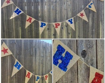 """Fourth of July Patriotic Red and Blue """"Happy 4th"""" Glitter Burlap Banner"""