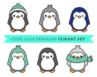 Premium Vector Penguin Clip Art - Cute Penguin clip art - Vector Penguins - Kawaii Penguins - High Quality Vectors - Cute Baby Penguins