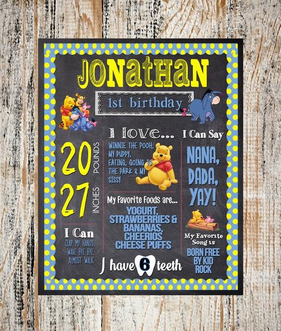 First Birthday Party Invitation Boy Chalkboard: First Birthday Chalkboard / Winnie The Pooh By Partyprinters