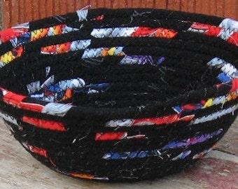 Black Small Bowl, Fabric Rag Rope, Coiled Basket, Modern Decor, Boy Nursery, Contemporary Decoration