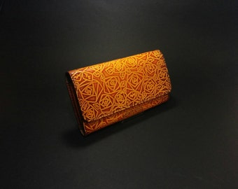 Rose Leather Wallet - Vegetable leather,Wallet,flower Women wallet,Pouch,Purse,handmade,womens wallet,ladies wallet