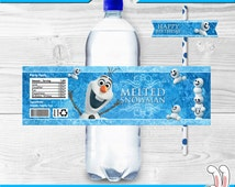 Disney Frozen - Water Bottle Wrappers and Straw Flags - Birthday Party Decorations / Ideas - Digital Files - for boys and girls - Olaf