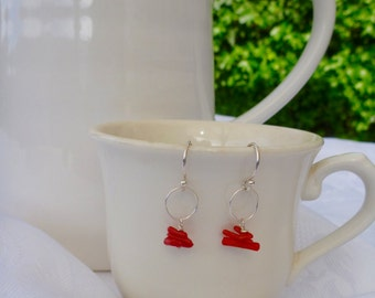 Bamboo Coral Earrings Sterling Silver