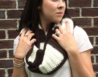 Brown and Ivory striped Infinity Scarf