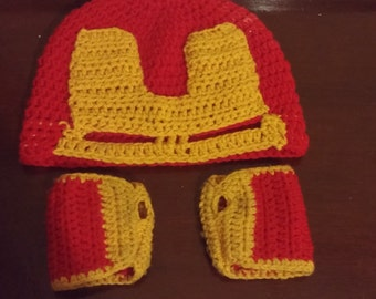 Ironman masked hat and fingerless gloves