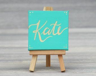 Unique Wedding Favor Ideas / Painted Escort Cards / Bridal Shower Place Cards / Painted Mini Canvas Place Card Favor / Aqua and Gold