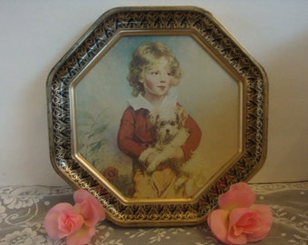 vintage shabby cottage VICTORIAN boy with a dog 8 sided octagon frame picture print
