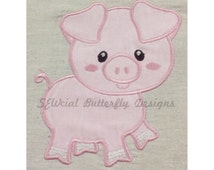"""Pig applique machine embroidery design- 3 sizes 4 x 4"""", 5 x 7"""" and 6 x 10"""""""