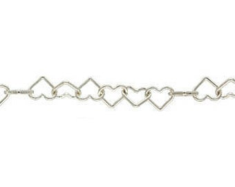 Sterling Silver Heart Chain 4mm - 5 feet
