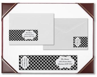 Envelope wraps black and white roses wraparound address labels personalised labels invitations wedding engagement bridal shower baby shower