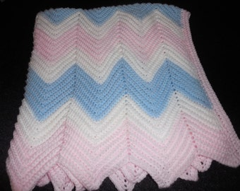 Blue, Pink and White Ripple Crocheted Baby Afghan