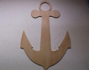 "Large Wood Anchor, Wooden Anchor, Anchor, Nautical, Fishing, Wedding Centerpiece, Ocean Anchor, Craft Wood, Craft Supplies - 16"" x 10 1/2"""