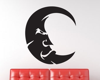 Funny Angry Moon Vinyl Wall Decal Graphic