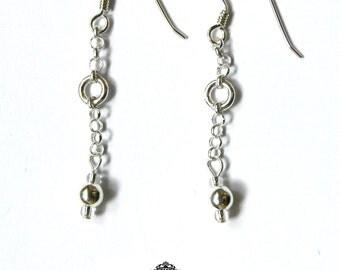 Silver Belcher Chain Earrings