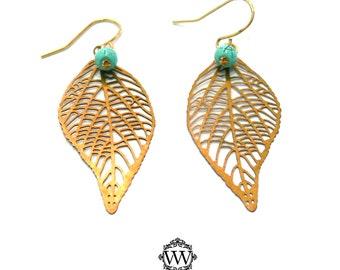 Filigree Gold Leaf Earrings