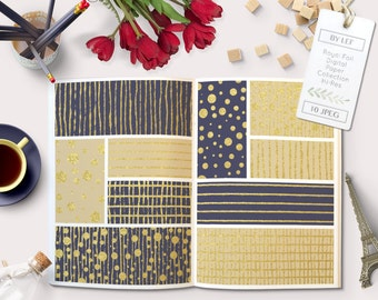 navy blue and gold foil digital paper pattern pack