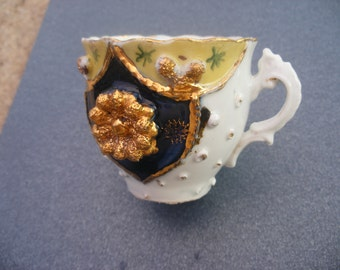 china commerorative cup, vintage china, ornate pattern ,no chips , gold boss, vintage cup ,  collectors item
