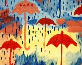 Beautiful umbrella painting ORIGINAL by Artist!