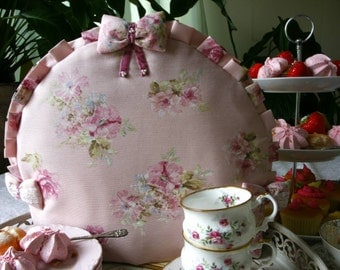 Pink shabby chic teacosy with roses, Floral Tea Cosy