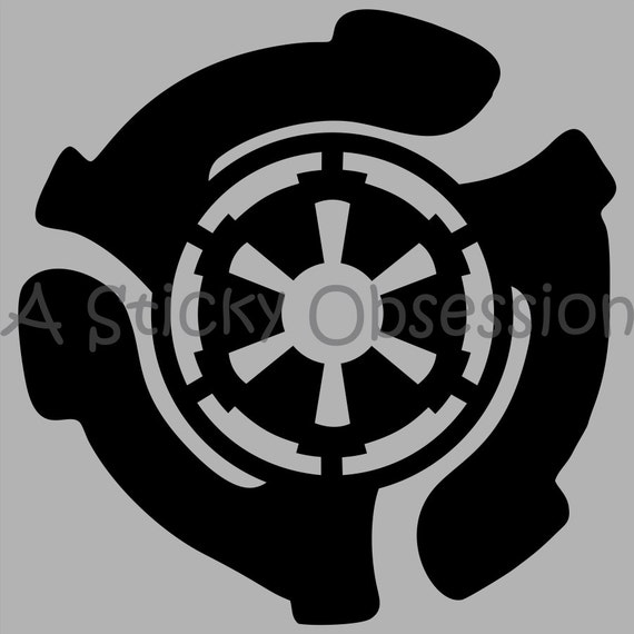star wars inspired empire records 45 rpm adapter emblem decal. Black Bedroom Furniture Sets. Home Design Ideas