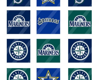 Seattle Mariners digital collage sheet 8.5x11 2 inches square INSTANT DOWNLOAD