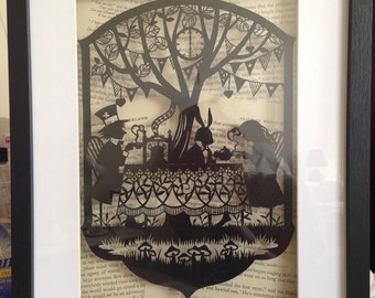 Paper cut of Alice in wonderland Mad Hatters Tea Party. Large box framed. Handmade to order.