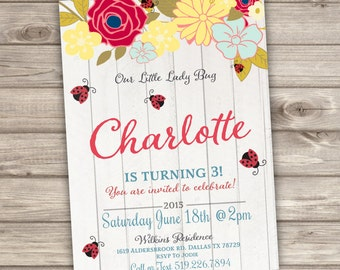 Ladybug Birthday invitations NV734